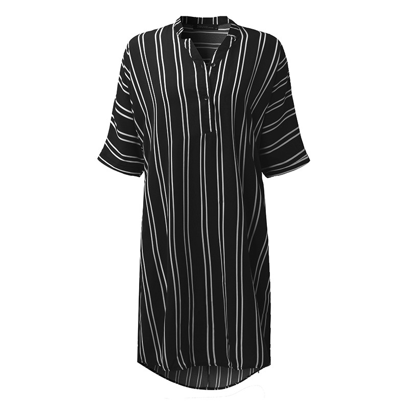 Women Pregnant Casual Loose Beach Mini Dress 2018 Summer Lapel Half Sleeve Striped Printed Irregular Hem Vestidos Plus Size