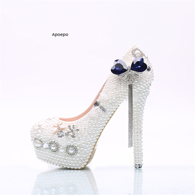 New Hot Selling Crystal Wedding Shoes 2018 Woman Platform High Heel Shoes  Handmade Blue Stones Dress heels tassel pumps a8472ba34ae9
