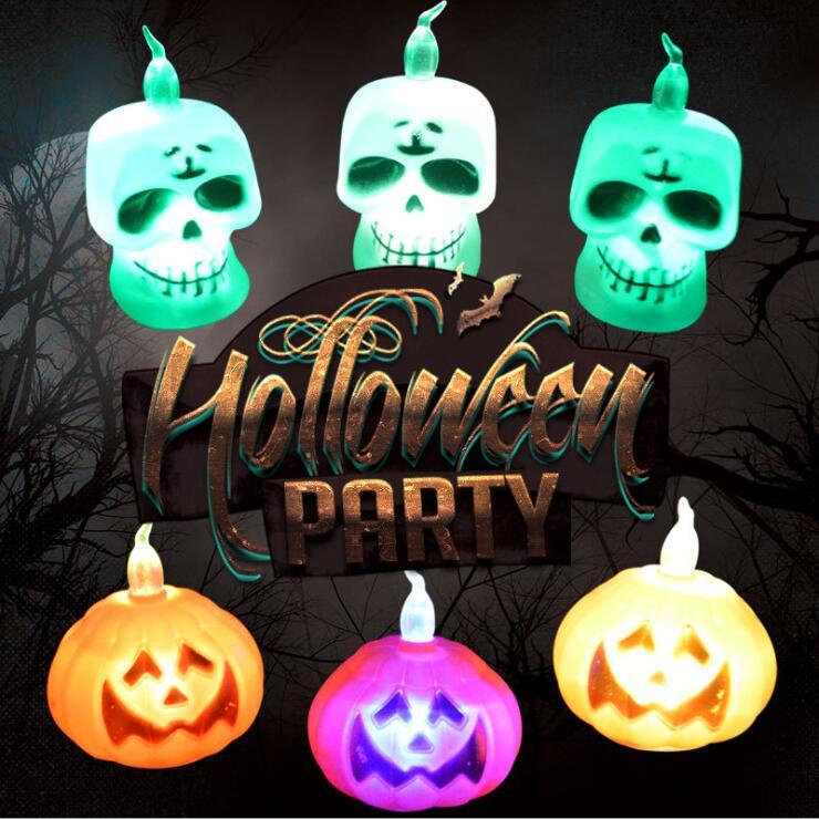Halloween Gifts Halloween Decorative Props Creative Ghost Head Horror Candle Light Led Lights Pumpkin Lights