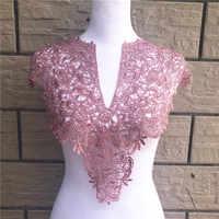 1pc poliéster grande decote em v 7 cores tecido colarinho de renda, diy vestido de casamento feito à mão colar renda para costura suprimentos artesanato