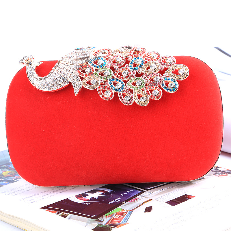 2016 Fashion upscale bridal evening bags handmade bags Wedding Party Bag Peacock Diamond Bling Banquet Bag