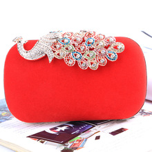 2016 Fashion upscale bridal evening bags handmade bags Wedding Party Bag Peacock Diamond Bling Banquet Bag With Shoulder Chain