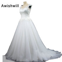 100 Real Picture A Line Cap Sleeve Boho Lace Tulle Cheap White Wedding Dresses Court Train