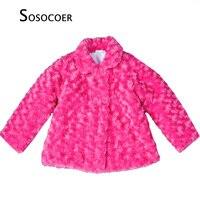 Girls Coat Winter 2016 High Quality Girls Coat Wool Children Outerwear White Rose Kids Warm Coat