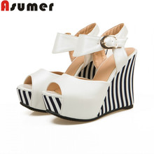 ASUMER Plus size 34-43 new fashion wedges women pumps peep toe party wedding shoes high heels platform ladies shoes woman