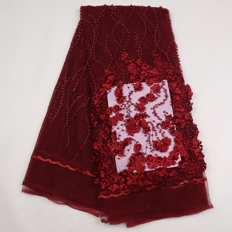 WINE COLOR African Tulle Lace Fabric With Beads High Quality French Net Lace Fabric 5yaradslot  GD1777B-2