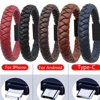 Cavo di sincronizzazione per cavo di ricarica dati per caricabatterie da esterno in pelle portatile Mini type-c/8pin/Micro USB per Iphone X 8 Samsung S9 S8