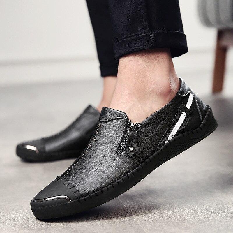 Condução Homens Simples Leves De Preto Couro Dos Novos marrom Da Casuais Moda 2018 Sapatos Respirável FaZqq7