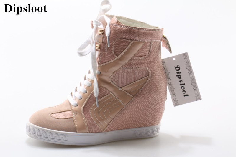Hot Selling 2018 Woman Fashion Patchwork Lace-up Casual Shoes For Ladies Round Toe Height Increasing Shoes Woman Wedges Flats fashion lady flats platform shoes lace up height increasing white zapatillas woman brand casual shoes mixed red blue big size 10