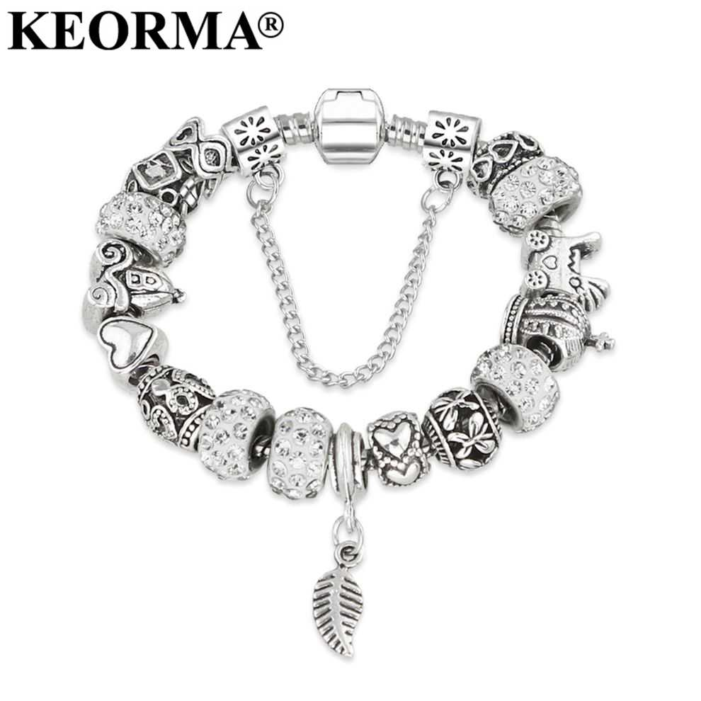 New European Silver Plated Bead Charm Bracelet Beads Fit Women Bracelets & Bangles Jewelry Free Shipping