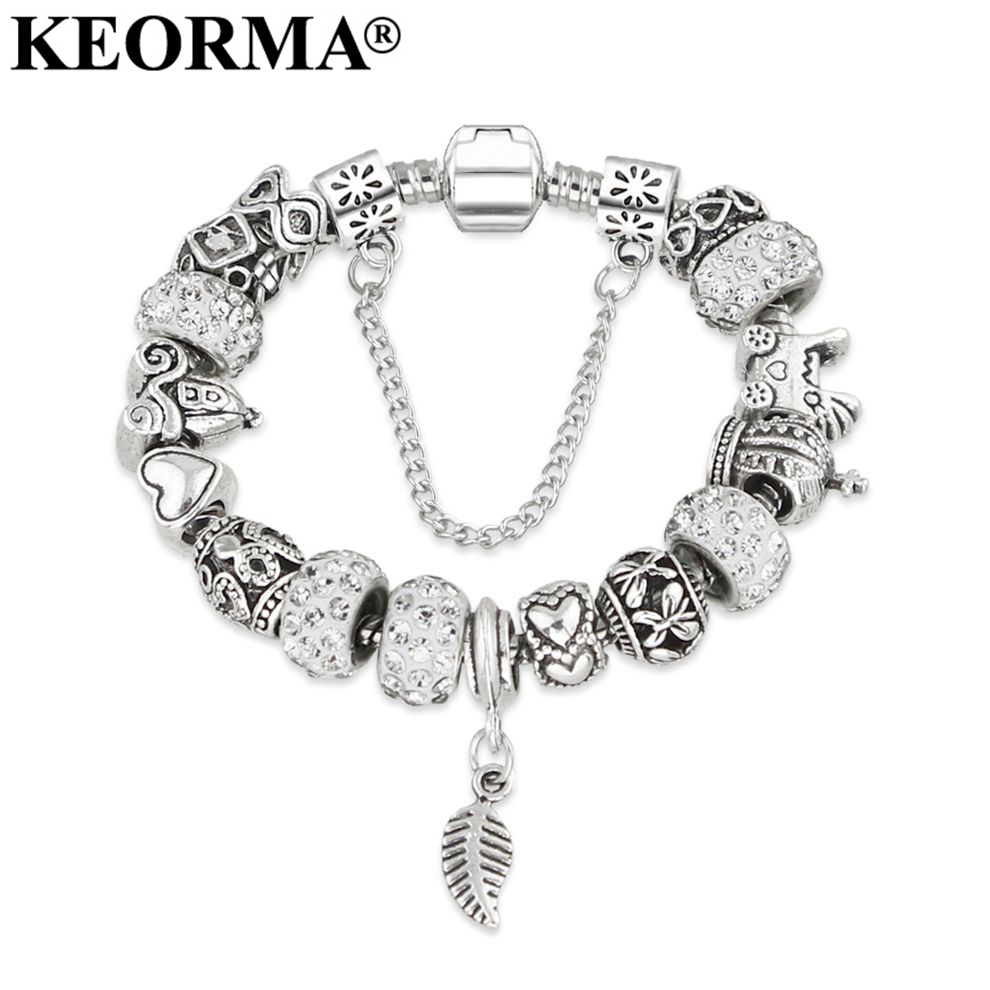 New European Silver Plated Bead Charm Bracelet Beads Fit Wom