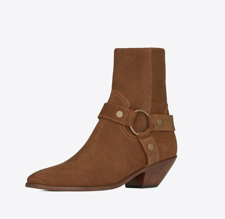 Womens Chelsea Boots Genuine Leather Camel Suede Stacked Heel Anke Boots Side Zip Shoes Autumn for Women Chains Harness BootsWomens Chelsea Boots Genuine Leather Camel Suede Stacked Heel Anke Boots Side Zip Shoes Autumn for Women Chains Harness Boots