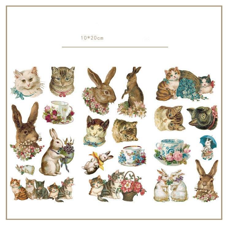 3 Pcs/lot Cute Cat Rabbit Bullet Journal Decorative Stickers Set Scrapbooking Stick Label Diary Stationery Album Stickers