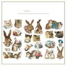 Autocollants décoratifs chat lapin mignon, ensemble de 3 pièces/lot, étiquette autocollante pour Album, papeterie pour journal intime