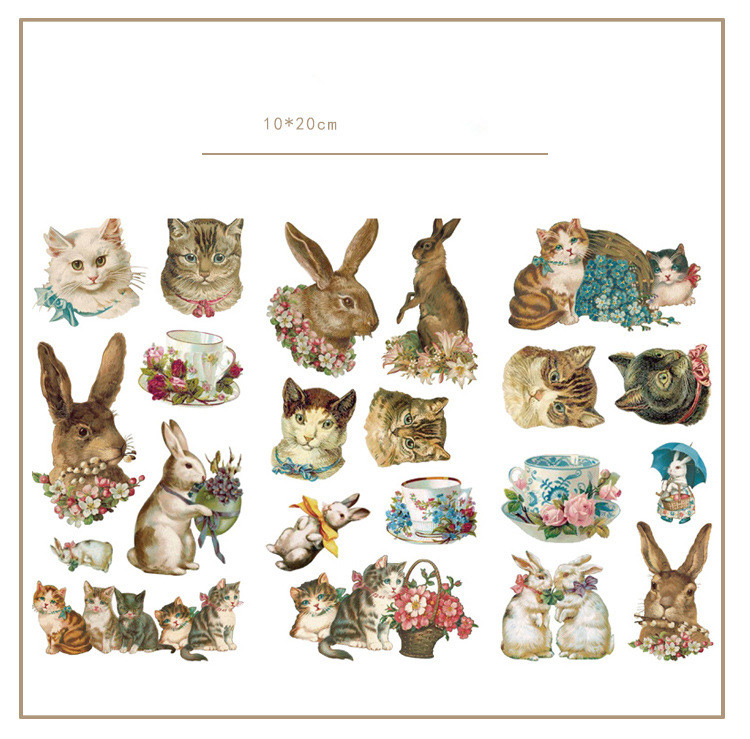 3 pièces/lot mignon chat lapin décoratif autocollants ensemble Scrapbooking bâton étiquette journal papeterie Album autocollants