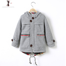 Boys Hooded Children Gray Blue Brown Worsted Wool Warm manteau for Boys Coat Winter Jacket Kids  1709