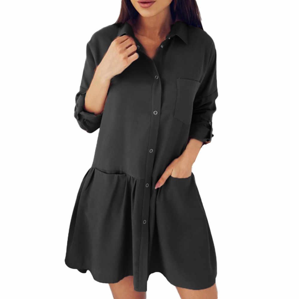 Nouveau mode femmes à manches longues automne décontracté lâche poche Blouse robes de luxe élégant femmes robe dames robe Elegnat S! 75