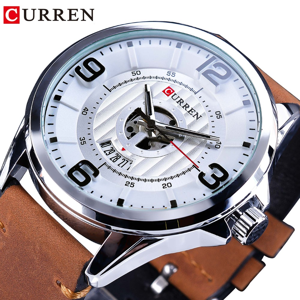 CURREN 2018 Fashion Racing Design White Sport Dial Brown Leather Belt Mens Quartz Watches Top Brand Luxury Military Clock