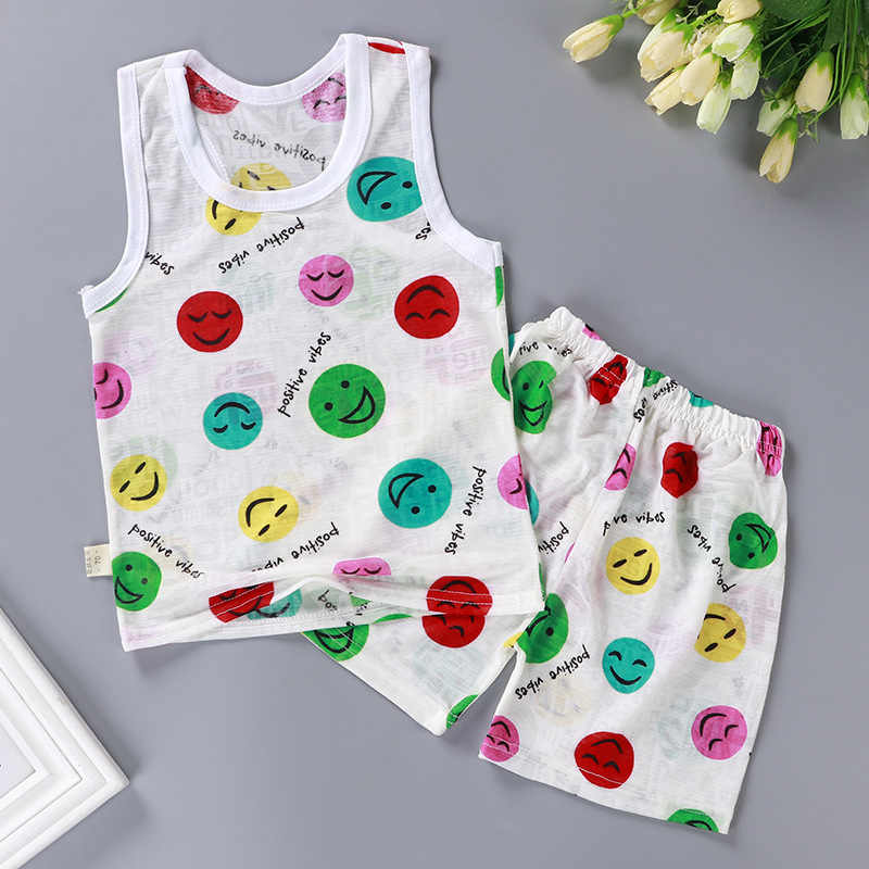 Baby Jungen Kleidung Sets Mickey T Shirt Sommer Weiche Belüftung Baby Mädchen T Shirt Ultra-dünne Eis Seide Cartoon baby Kleidung Weste