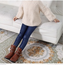 2017 new winter item girl pu leather legging warm legging three colors 3-10 years