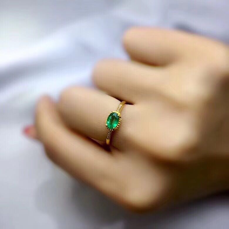 Royal silver emerald ring 4mm 6mm natural Columbia emerald engagement ring solid 925 sterling silver emerald