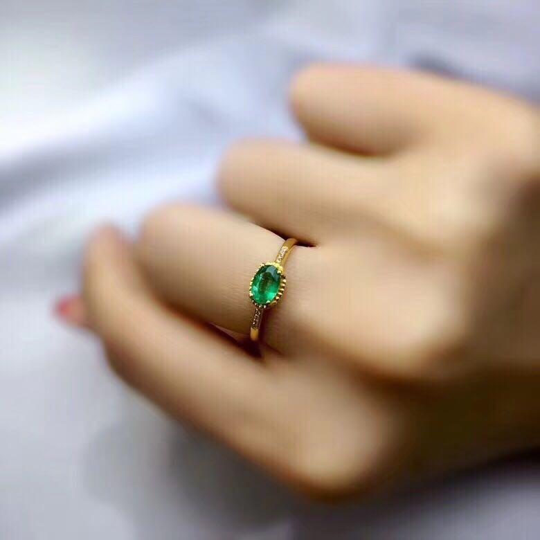 Koninklijke zilveren emerald ring 4mm * 6mm natuurlijke Columbia emerald engagement ring solid 925 sterling zilver emerald ring voor vrouw-in Ringen van Sieraden & accessoires op  Groep 1