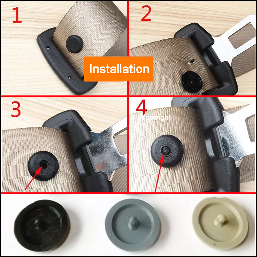 50Sets Safety Car Parts Seat Belt Stopper Spacing Limit Buckle Clip Universal Plastic Retainer Seatbelt Fastener Stop Button (3)