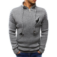 MORUANCLE Fashion Men Hi Street Sweater With Holes Streetwear Ripped Pullover Sweater For Male Knitwear Stand Collar