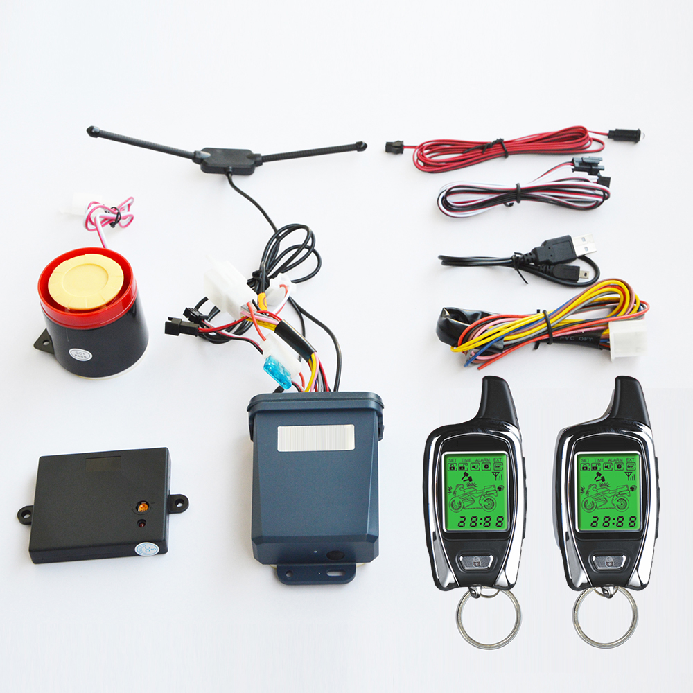 2-way Motorcycle Motorbike security alarm system with two LCD transmitters remote engine start & microwave sensor