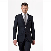prom suits navy blue for wedding groom tuxedo slim fit high quality men suit notch collar wool bleed