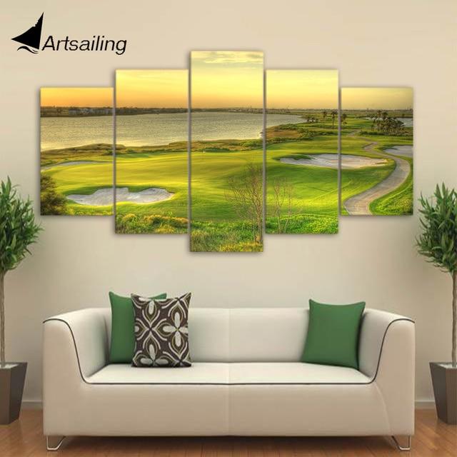 HD Printed 5 Piece Canvas Art Golf Painting Framed Modular Wall ...