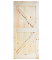 DIYHD 38inX84in Pine Knotty Sliding Barn Wood Door Slab Two Side Arrow Shape Barn Door Slab (Disassembled Unfinished)