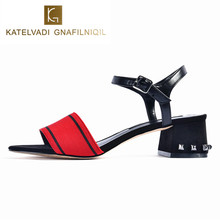 KATELVADI Casual Summer Sandals Square Heel Red Stretch Fabric Women K-339