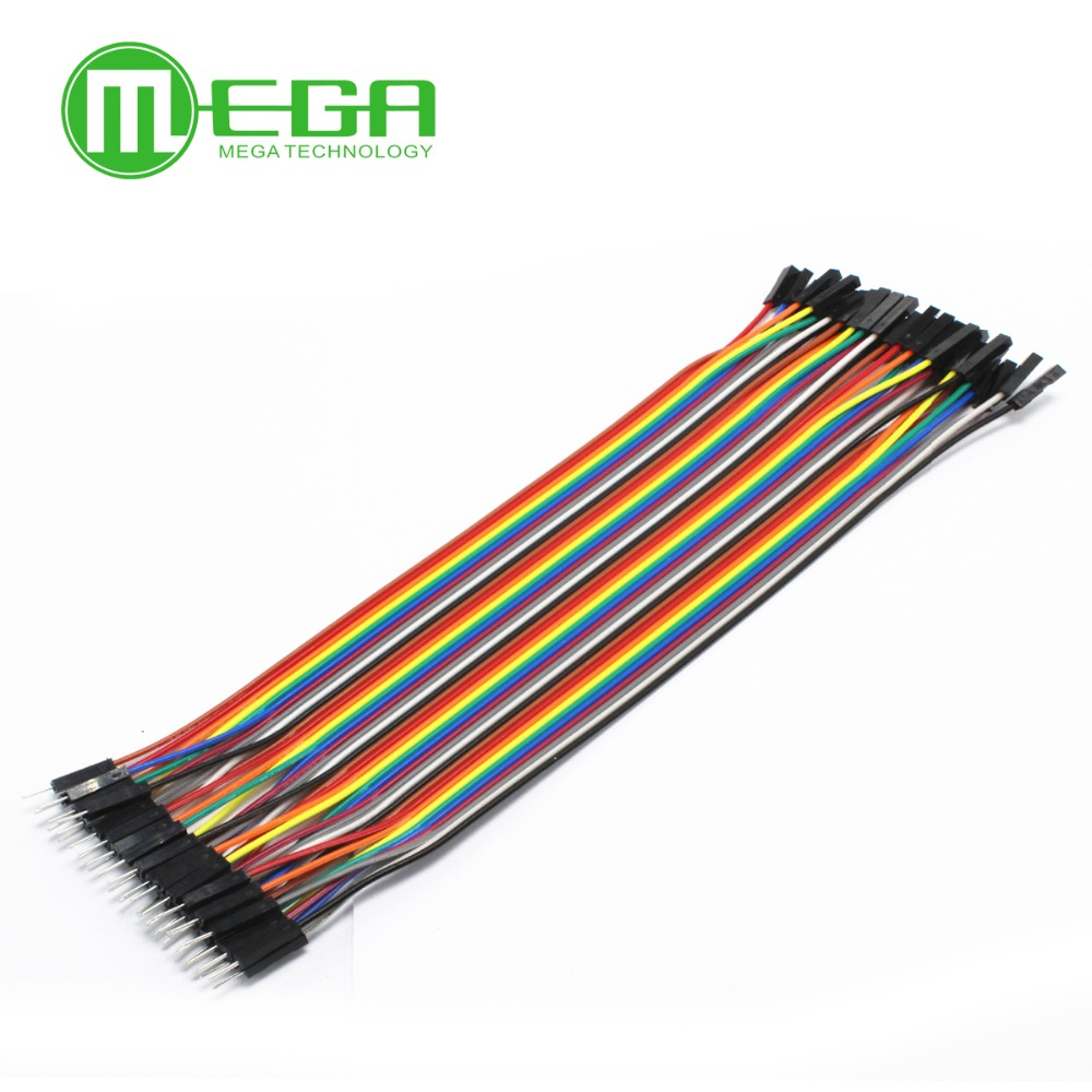 40pcs = 1 Row=1Lot  Colorful Dupont Cable 20cm 2.54mm 1pin 1p-1p Female To Male Jumper Wire For Breadboard