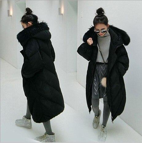 d45654c0e2a New black gray women cotton down jackets women's winter coats 90% cotton  down super warm waterproof windproof loose long parkas