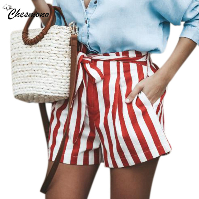 Belted elastic Waist Striped Boho Shorts Women mid Waist Loose Bottom Shorts 2018 Summer Beach Casual Shorts