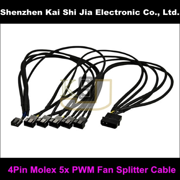bilder für 20 Teile/los Fabrik Preis 4Pin Molex zu 5x PWM Fan Splitter Kabel