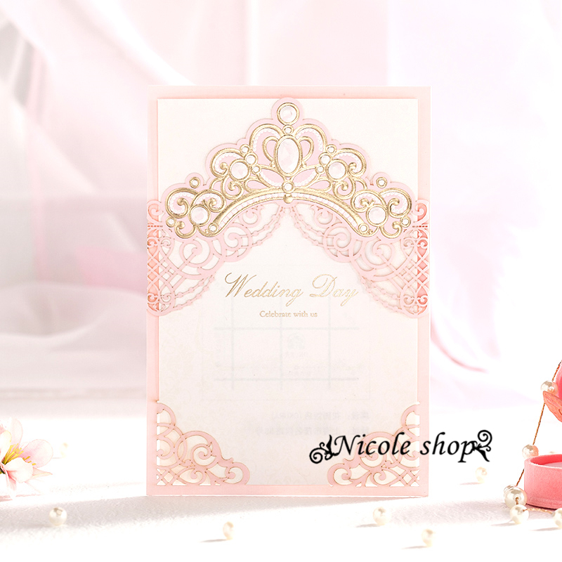 30psc Pink Princess Wedding Invitation Card Wedding Invitations Happy  Birthday Party Supplies For Bride Diy Decoration