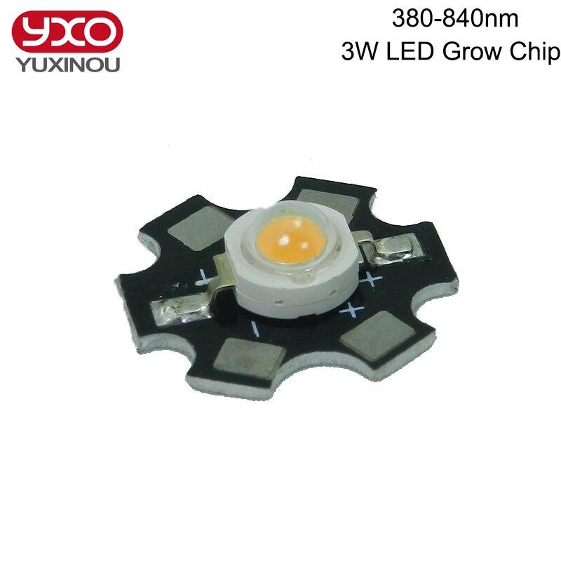 100 pcs 1 W 3 W 5 W 380nm-840nm Espectro Completo LEVOU Crescer Luz de Alta poder LEVOU Emissor Talão LEVOU Chip Fonte de Luz Diodo with20mm pcb