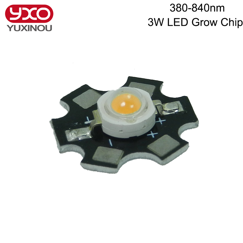 100pcs 1W 3W 5W Full Spectrum LED Grow Light 380nm 840nm High Power LED Emitter Bead Chip LED Diode Light Source with20mm pcb