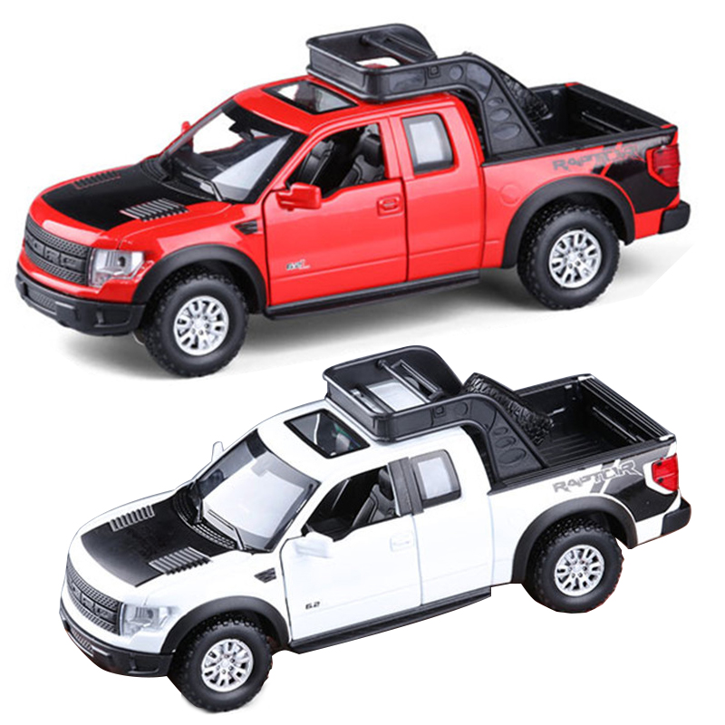 1:32 Metal Model Car Kids Toy Vehicles for children Hot wheels train steering-wheel Pickup truck Ford Raptor F150