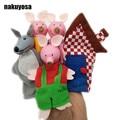 5 unids/set tres cerdo, lobo, casa de Dibujos Animados Happy Family Fun Animal Del Dedo de la Marioneta de Mano Kids learning y educación juguetes Regalos