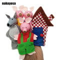 5pcs/set three pig,wolf,house Cartoon Happy Family Fun Animal Finger Hand Puppet Kids learning & education Toys Gifts