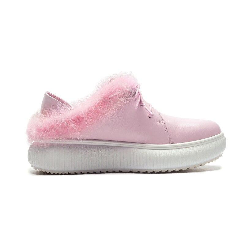La De Couleur Pink Bout Rose Rond Souple Stylesowner Mignon Chaussures 2018 Cuir Vraie Hiver Solide Plat Plate Avec Femme Simples black Automne forme Fourrure BOvzqTB