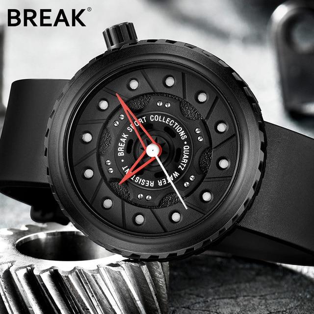 BREAK Luxury Brand Men Crazy Speed Sports Watches Man Rubber Strap Casual Fashion Geek Creative Gift Analog Quartz Wristwatch 2