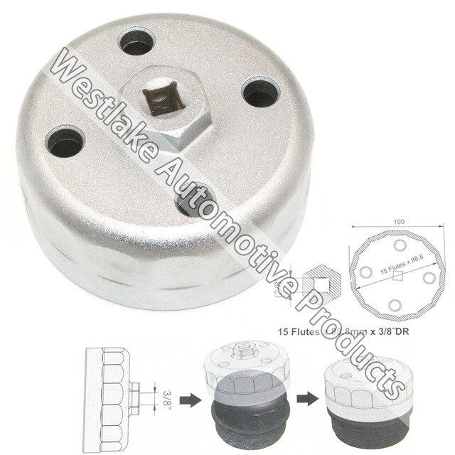 """3/8 """"Dr 88.8 мм Крышку Масляного Фильтра Ключ для Hyundai Kia Land Rover 15 флейты"""