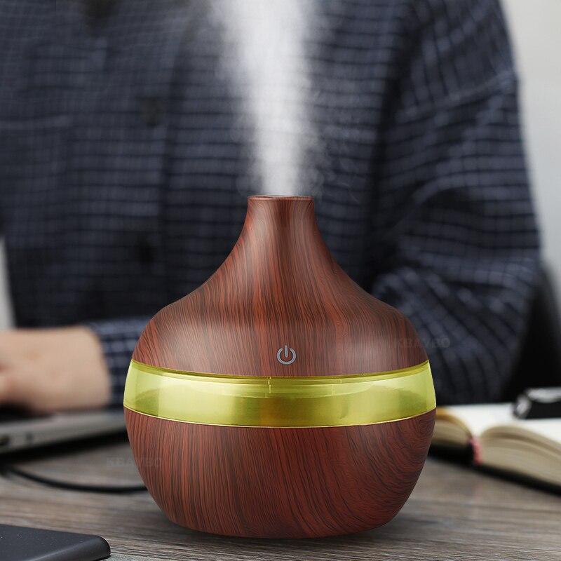 KBAYBO Elektrische Aroma diffusor holz ultraschall-luftbefeuchter 300 ml USB Ätherisches öl Aromatherapie air diffusor Led-leuchten für hause