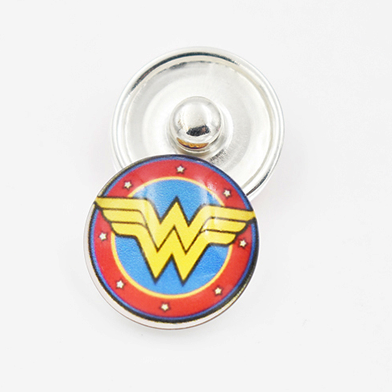 20PCS Wonder Woman Glass 12MM/18MM Snaps Button Jewelry Charms For Bracelate&Necklace DIY Jewelry