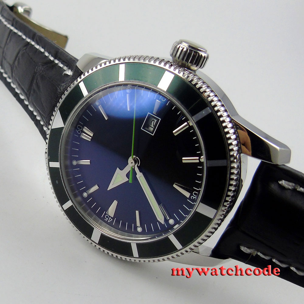 46mm black dial green bezel leather automatic mens wrist watch P513 wholesale full silvery see through square dial automatic real leather mens wrist watch new page 4