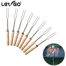 Marshmallow Roasting BBQ Sticks with Wooden Handle& Bag Smores Skewers Roasting Sticks Hot Dog Forks Best Camping Accessories
